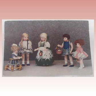 Rare Postcard Showing  Lena Bambole Cloth Dolls, Lenci Type. 1928 /30