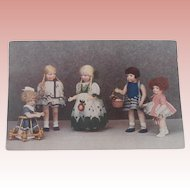 Rare Postcard Showing  Lena Bambole Cloth Dolls, Lenci Type. 1928 /30