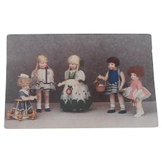 Rare Postcard , Lena Bambole Cloth Dolls, Lenci Type. 1928 /30