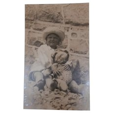 Vintage  Real Picture Postcard, Girl and Teddy Bear