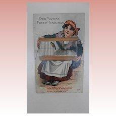 Unusual Early Postcard  Gypsy' Your Fortune Pretty Gentleman'