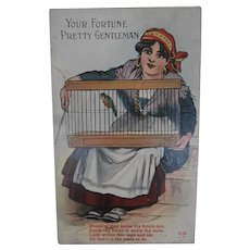 Unusual Early Postcard  Gypsy' Your Fortune Pretty Gentleman'
