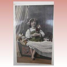 Early Postcard  1913, Rare Steiff Krinoline Coffee Cosy,Doll, White Teddy and Dog