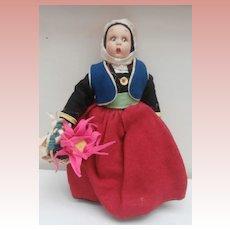 Very Nice Vintage Lenci Type Miniature Cloth Doll