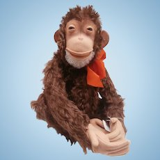 Lovely Vintage Steiff Jocko Monkey, Steiff Button