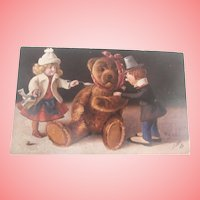 Early Teddy Bear Postcard with Two Dolls,, 'Oilette' 1910