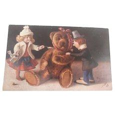 Early Teddy Bear Postcard with Two Dolls,, 'Oilette' 1910