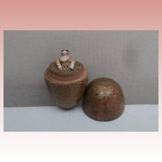 Early Peg Wooden Doll in Wood  Egg