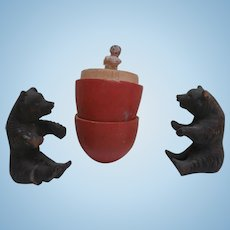Poor Tiny Peg Wooden In Egg and 2 Poor  Wood Bears