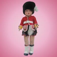 Chad Valley Scottish Guardsman Cloth Doll, All Original 1930's
