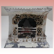 Early Dolls House  Metal Fire Place with, Surround and Fire