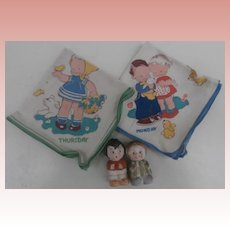 Two Vintage Mabel Lucie Atwell Hankies A/F and Two Chloe Preston Bisque Figures
