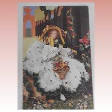 Rare Lenci Lady Boudoir Doll R17  Postcard 1930's