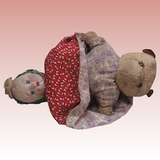 Well Loved Rare VIntage Chad Valley Topsy Turvy Doll and Teddy Bear