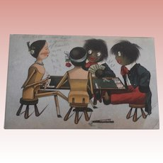 Early Golly and Peg Wood Doll Postcard A/F