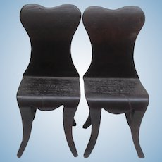 Pair of Vintage  Wood Doll  or Teddy Chairs A/F