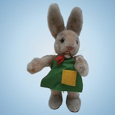 Steiff Ossili Rabbit 1962 to 1974, Steiff Button, New Apron