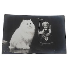 Vintage Real Photo Postcard Lenci Doll and Cat
