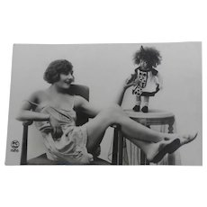 Postcard ,Boudoir Lady with her Lenci Doll