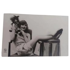 Postcard, Boudoir Lady with her Lenci Doll