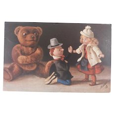 Early Postcard 'Oilette' The Teddy Bear Series 1910