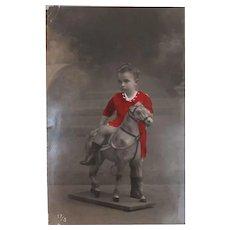 Postcard 1909, Boy on Toy Horse