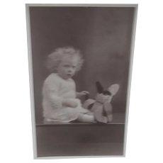 Vintage Postcard , Girl with Comical Dog