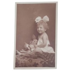 Real Picture Postcard , 1921 Girl, Comical Dog and Rabbit