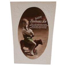 Vintage Postcard Boy on Cow