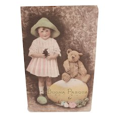 Early Easter Postcard with Teddy Bear