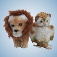 Poor Old  Miniature Schuco Lion and Owl