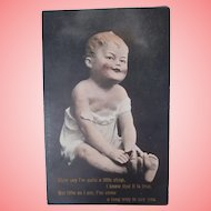 Early Postcard  Bisque Piano Baby  Doll