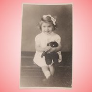 Real Photo Postcard, Girl and Golly Doll 1945