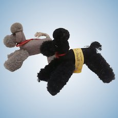 Steiff  Pair Miniature Woolen Poodle Dogs 1959 to 1967