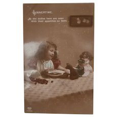 Early Postcard 'Dinnertime' Girl with Dolls and Teddy Bear