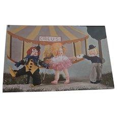 Rare Lenci Googly Eye Dolls  and Clown Postcard