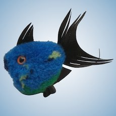 Steiff Blue Wool Coral Fish 1968 to 1977, No Id's