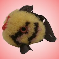 Steiff Yellow Wool Coral Fish, Steif Button , 1968 to 1977