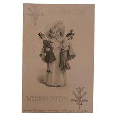 Interesting Early Postcard Boudoir Man and Woman Dolls