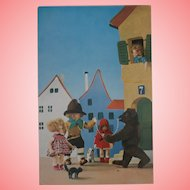 Rare Lenci Postcard,  Lenci Dolls Steiff Molly, Tom Cat and Bear