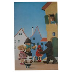 Rare Lenci Postcard,  Lenci Dolls Steiff Molly, Tom Cat and Bear