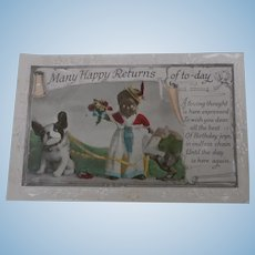 Early Postcard, Black Doll, Steiff Bully and Wooden Raven A/F
