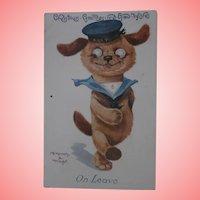 Early Tubby Dog ( Einco, Chiltern) Christmas Postcard