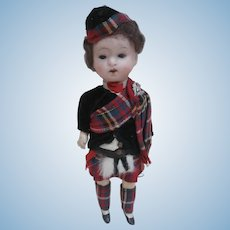 All Original  Small Bisque Headed Doll, Original Scottish Costume