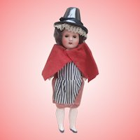 Antique Painted Bisque Doll,, Welsh Costume
