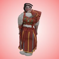 Unusual Early Cloth  Portugal National Costume Doll, Separate Finger