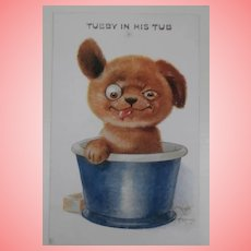 Early Postcard Einco Tubby Dog in His Tub