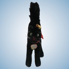 Steiff Tom Cat, Lucky Black Cat,  Button and Chest Tag