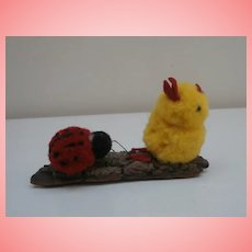 Interesting Vintage Wool Chick and Wool Ladybird on a Bark