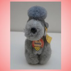 Steiff Snobby Poodle Dog, Steiff Button and Tag, 1968 to 1972